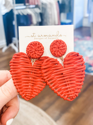 St.Armands Rattan Red Hearts