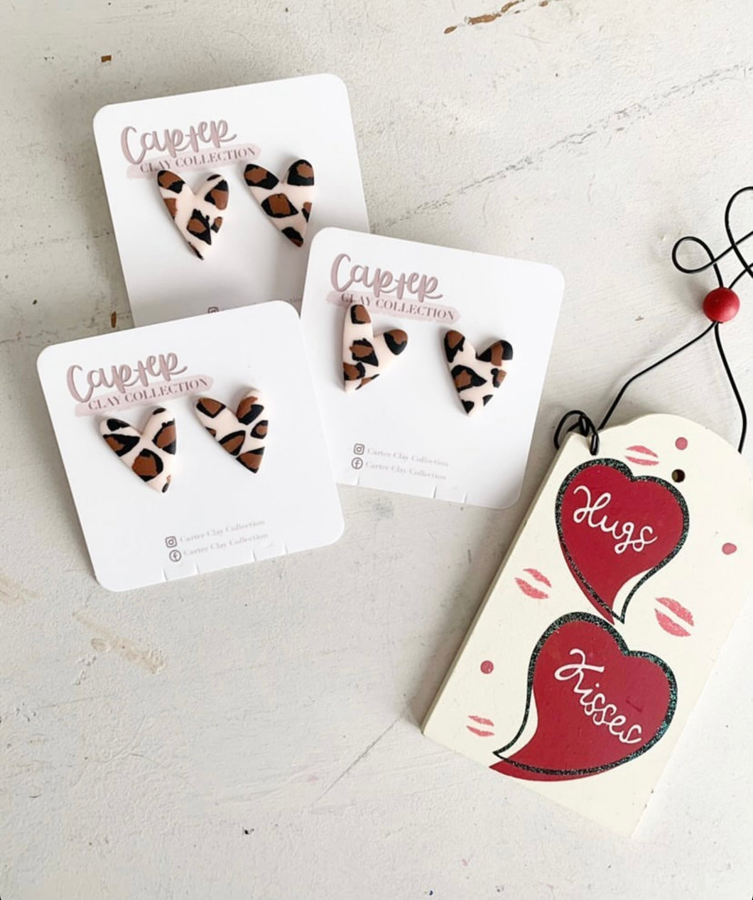Carter Clay Collection | Cheetah Heart Earrings
