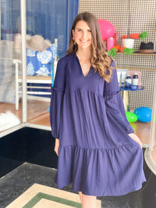 MOLLY BRACKEN | Midi Length Dress {Navy}