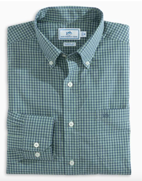 Southern Tide Skipjack Gingham Button Down Spanish Moss
