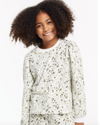 Z Supply Girls Painted Leopard Pullover