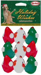 Christmas Faux Fur Mice with Rattle 9-Pack from Cat Supplies and More