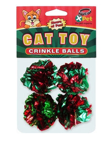 Christmas Crinkle Balls Cat Toy 4-Pack from Cat Supplies and More