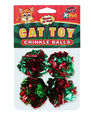 Christmas Crinkle Balls Cat Toy 4-Pack