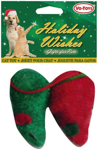 Christmas Red and Green Terry Mice 2-Pack from Cat Supplies and More
