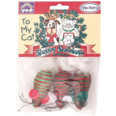 Red and green Christmas Braided Mice with Rattle from Cat Supplies & More