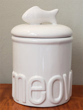 "Load image into Gallery viewer, ""Meow"" Ceramic Treat Jar by Creature Comforts from Cat Supplies and More"