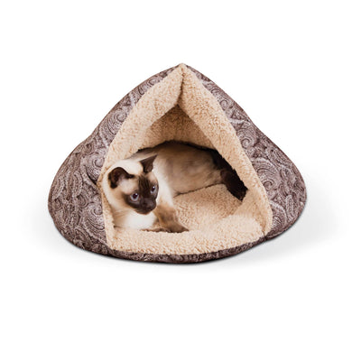 Self-Warming Semi-Private Cat Hut - Brown - from Cat Supplies and More