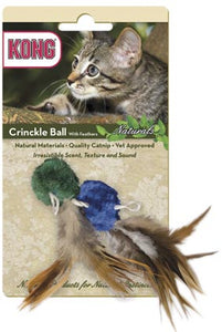 Kong Naturals Crinkle Ball with Feathers Catnip Toy - Cat Supplies and More