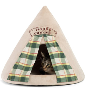 Cat resting inside Happy Camper Novelty Hut from Cat Supplies and More