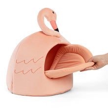 Load image into Gallery viewer, Flamingo Novelty Cat Hut side view, from Cat Supplies and More