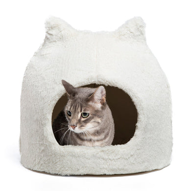 Fur Meow Hut Ivory front view, from Cat Supplies and More