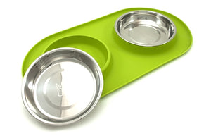Messy Cats Silicone Double Feeder Green from Cat Supplies and More