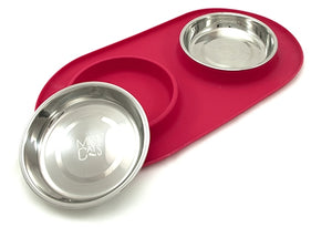 Messy Cats Silicone Double Feeder Red from Cat Supplies and More