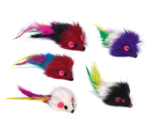 Savvy Tabby Fur Mouse with Rattle - Cat Supplies & More
