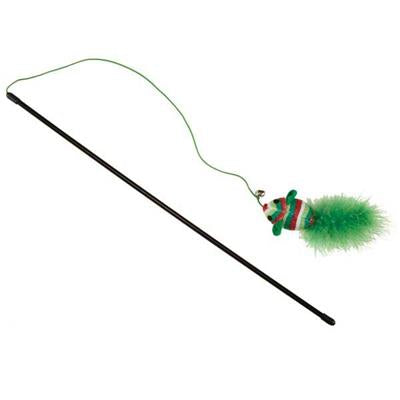 Savvy Tabby Holiday Cat Wand with Mouse - Cat Supplies & More