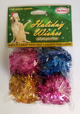 Holiday Glitter Pom Cat Toys 4-Pack from Cat Supplies & More