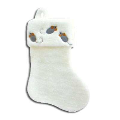 White Holiday Stocking with Mice