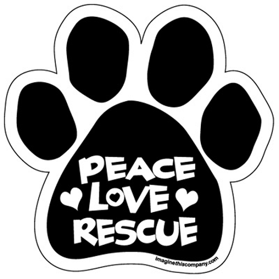 Peace Love Rescue Paw Magnet from Cat Supplies and More