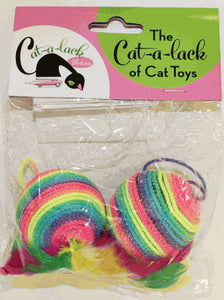 Cat-a-Lack Rainbow Feather Ball 2-Pack