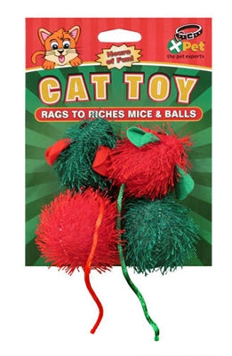 Christmas Rags to Riches Mice and Balls Cat Toys from Cat Supplies and More