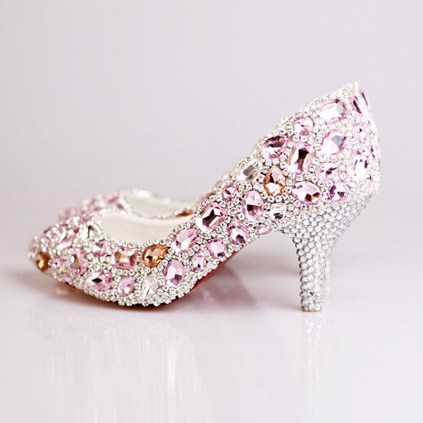 Slip-On Closed Toe Spool Heel Rhinestone 7cm Plain Thin Shoes