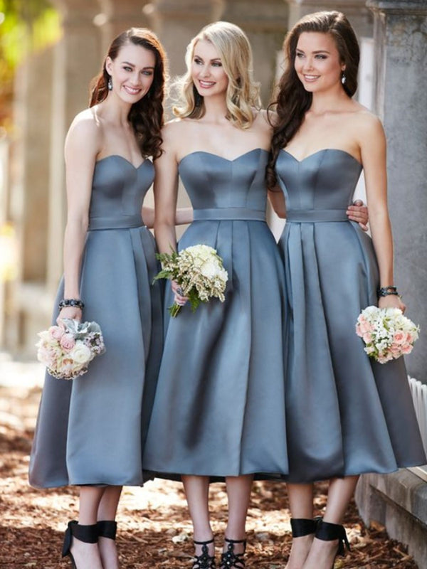 Sleeveless Sweetheart Tea-Length A-Line Wedding Party Dress