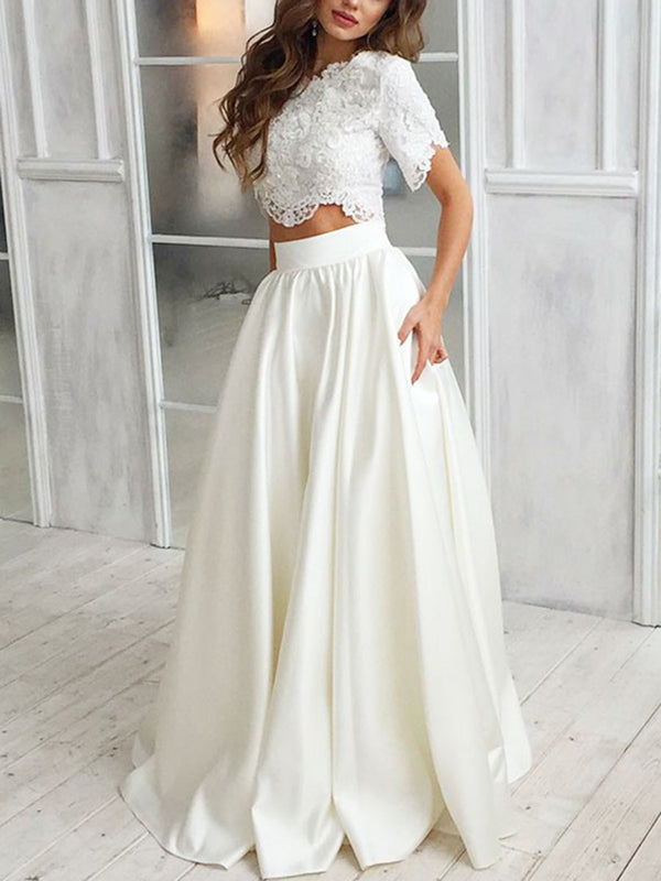 Scoop A-Line Appliques Floor-Length Beach Wedding Dress