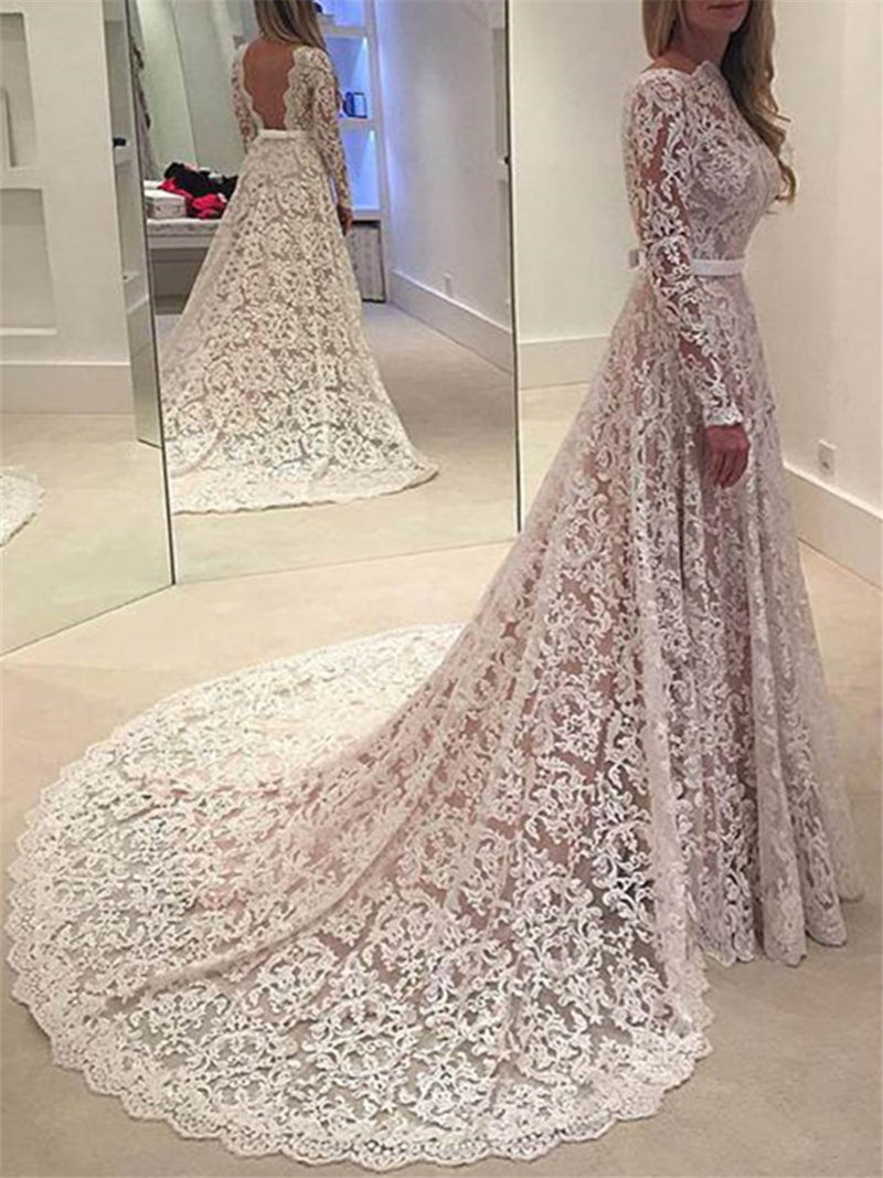 Court Floor-Length Scalloped-Edge Long Sleeves Church Wedding Dress