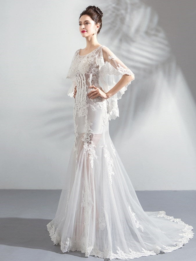 Court 3/4 Length Sleeves Trumpet/Mermaid Floor-Length Evening Dress