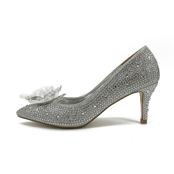 Pointed Toe Slip-On Stiletto Heel Rhinestone Low-Cut Upper 9cm Thin Shoes