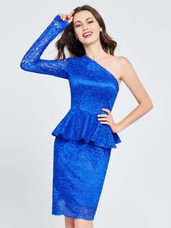 Trumpet/Mermaid Short/Mini Long Sleeves Lace Homecoming Dress