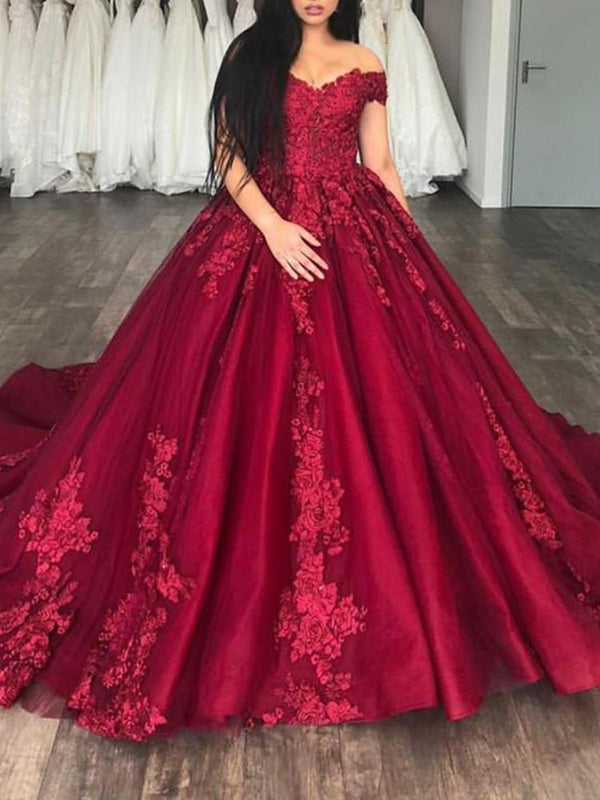 Off-The-Shoulder Short Sleeves Ball Gown Appliques Evening Dress