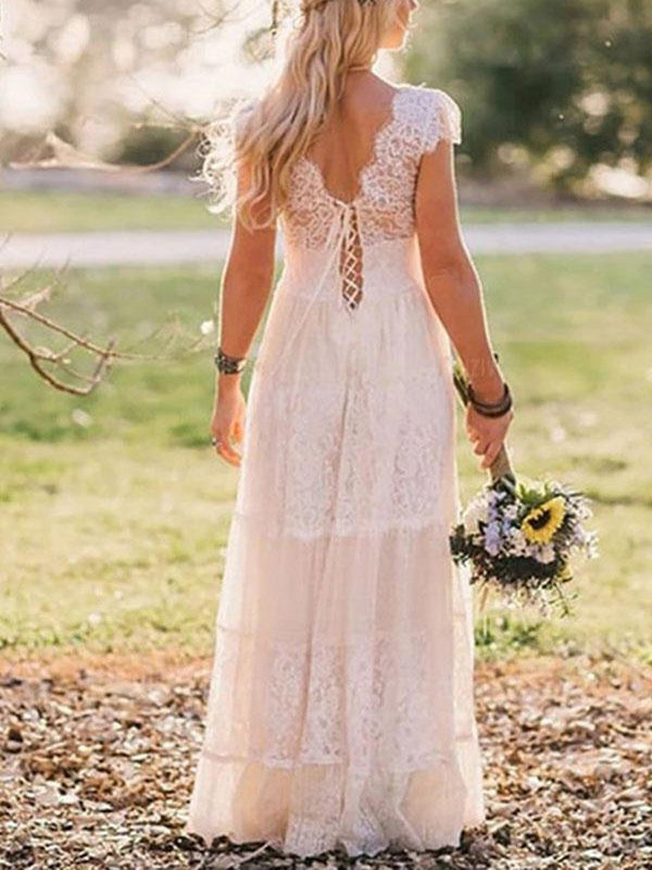 Cap Sleeves Lace V-Neck A-Line Garden/Outdoor Wedding Dress
