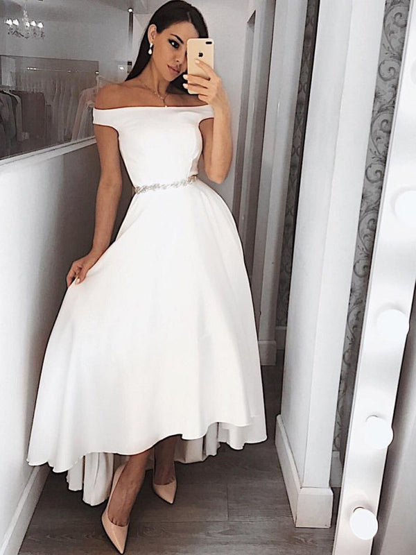 Asymmetry Off-The-Shoulder A-Line Beading Prom Dress
