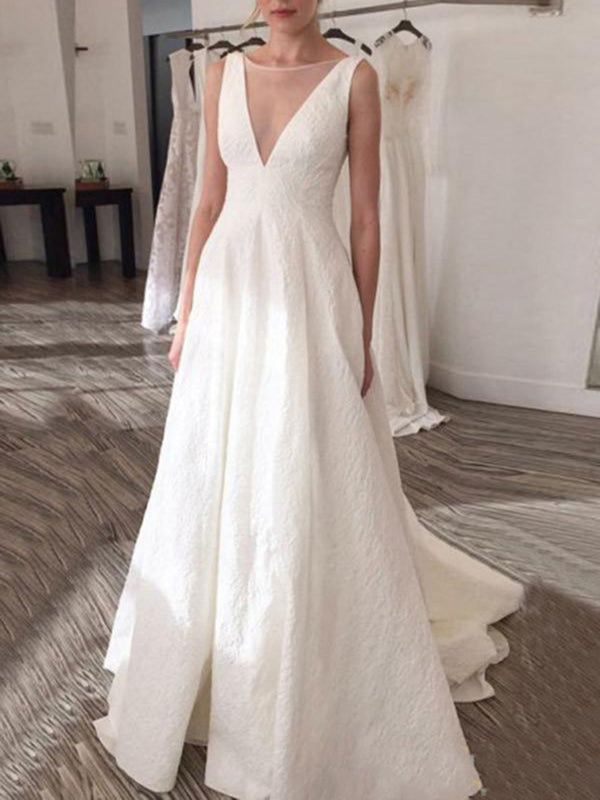 A-Line Sleeveless Sweep/Brush Bateau Garden/Outdoor Wedding Dress