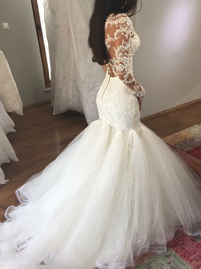 Sequins Long Sleeves Floor-Length V-Neck Hall Wedding Dress