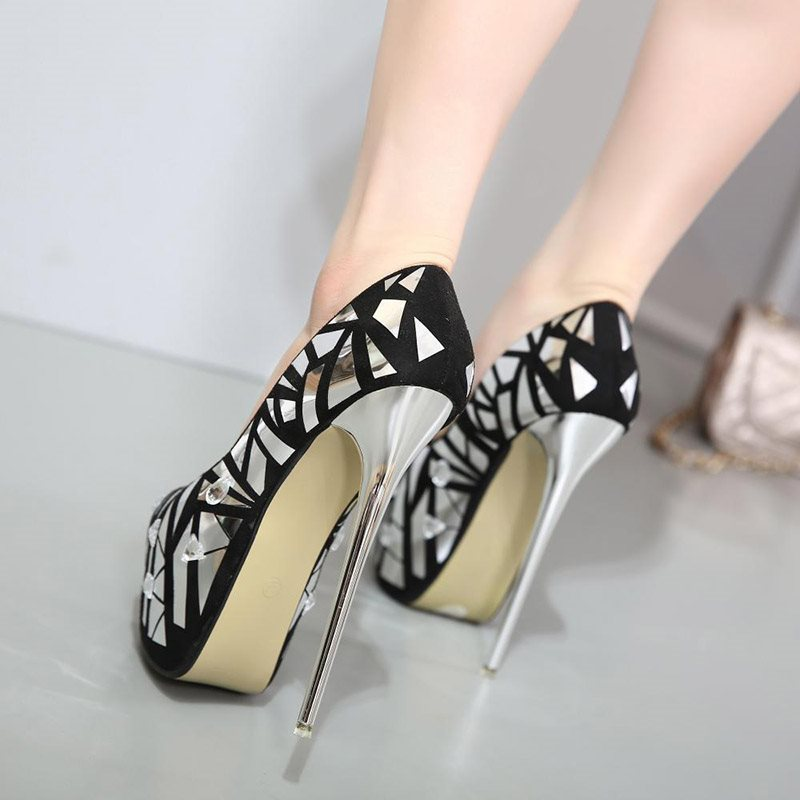 Platform Round Toe Stiletto Heel Slip-On Color Block Low-Cut Upper Thin Shoes