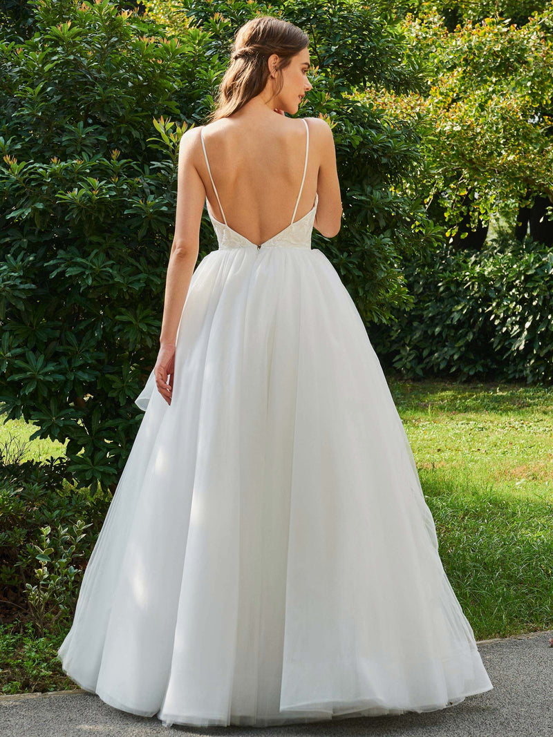 Floor-Length Spaghetti Straps Appliques Ball Gown Hall Wedding Dress