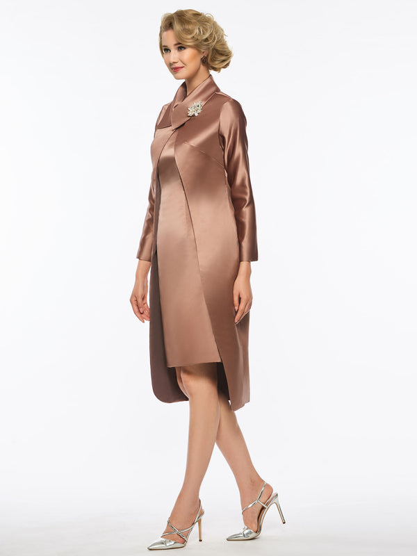 Long Sleeves Knee-Length Sheath/Column Scoop Evening Dress