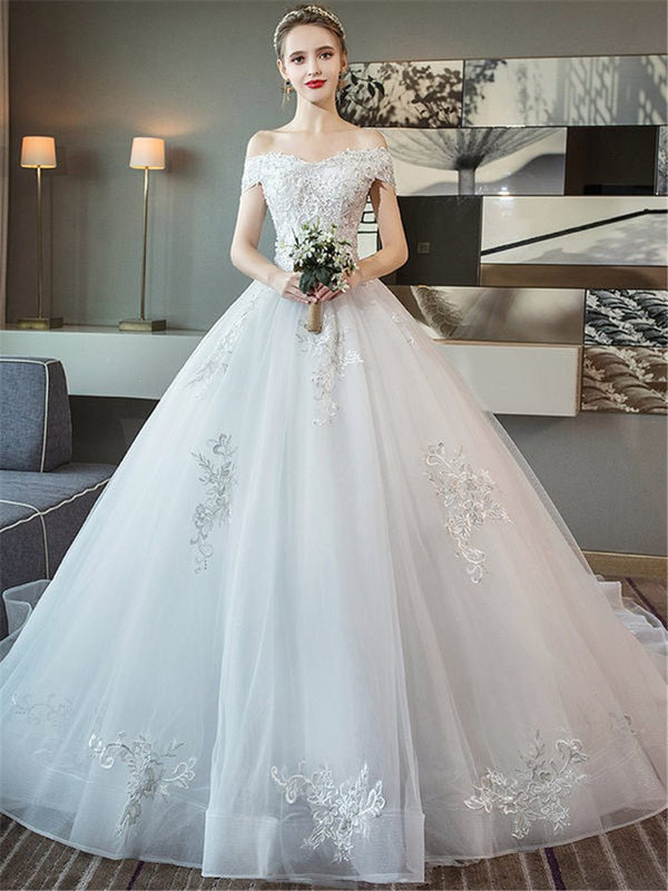 Floor-Length Appliques Ball Gown Off-The-Shoulder Hall Wedding Dress