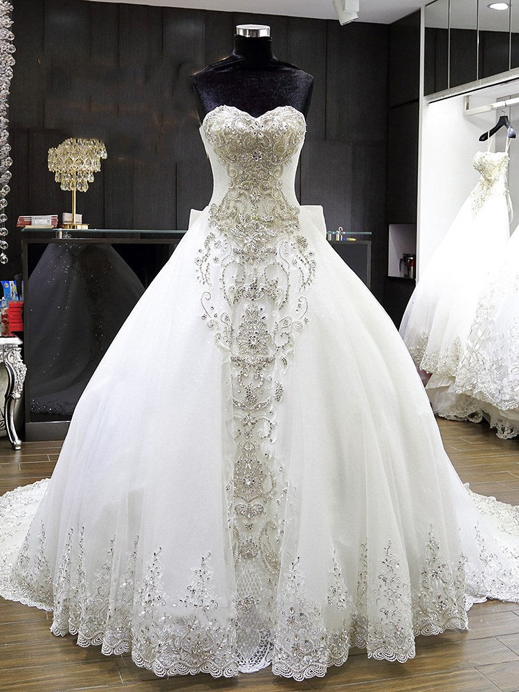 Sweetheart Floor-Length Ball Gown Sleeveless Church Wedding Dress
