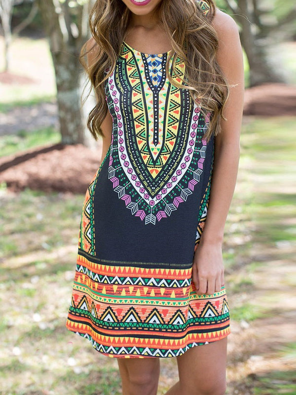 Above Knee Round Neck Sleeveless Ethnic Summer Dress