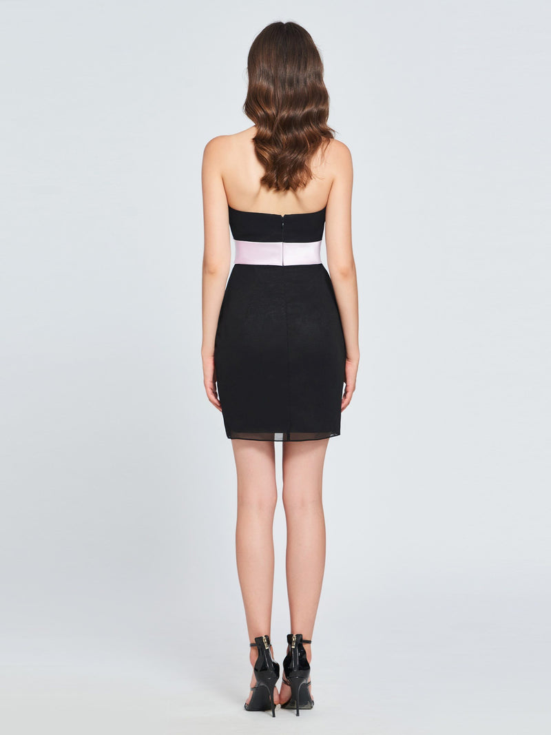 Short/Mini Strapless Sheath/Column Sleeveless Homecoming Dress