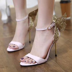 Line-Style Buckle Heel Covering Stiletto Heel Open Toe Sweet Rhinestone Sandals