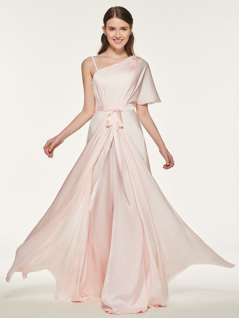 Sashes/Ribbons Floor-Length A-Line Wedding Party Dress