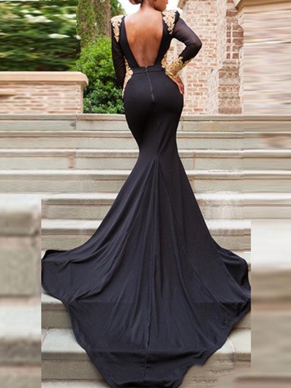 Appliques Chapel Long Sleeves V-Neck Evening Dress