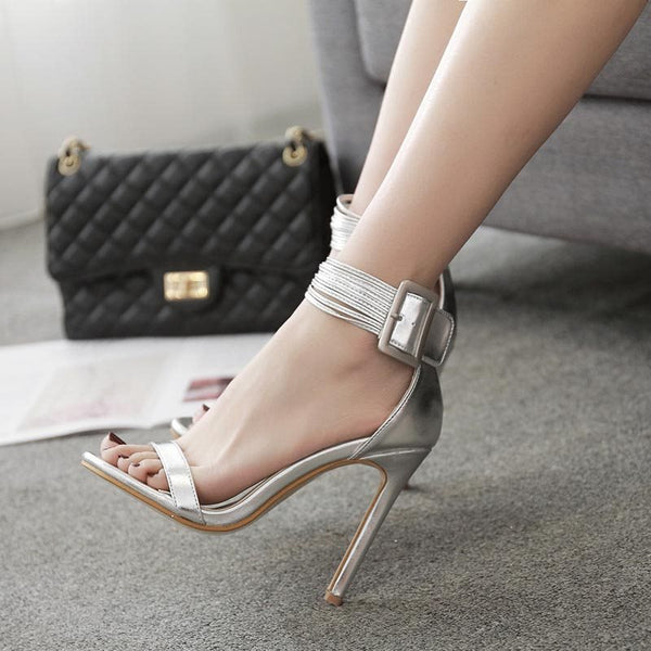Open Toe Stiletto Heel Heel Covering Line-Style Buckle Plain Low-Cut Upper Sandals
