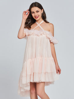 Ruffles A-Line Halter Sleeveless Sweet 16 Dress