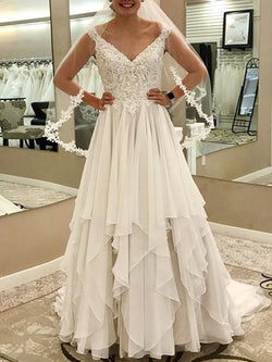 V-Neck Appliques Sweep/Brush Floor-Length Hall Wedding Dress